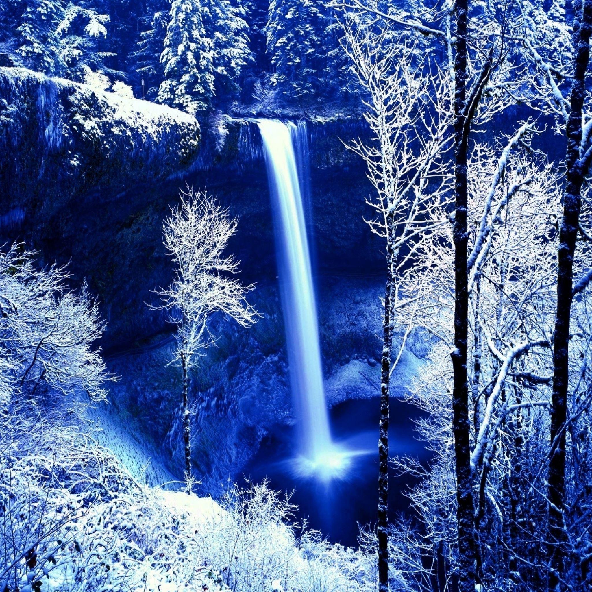 winter rock falls frost snow trees dark cold color iPad Air wallpaper