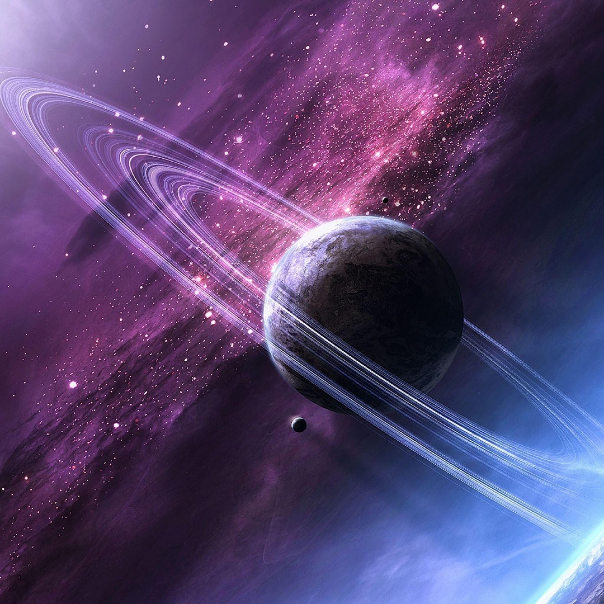 Stars space glow planet iPad Air wallpaper