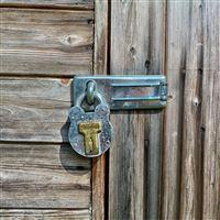 Hanging lock wooden door iPad Air wallpaper