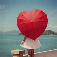 Girl umbrella iPad wallpaper