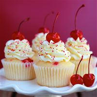Almond cherry cupcakes iPad Air wallpaper