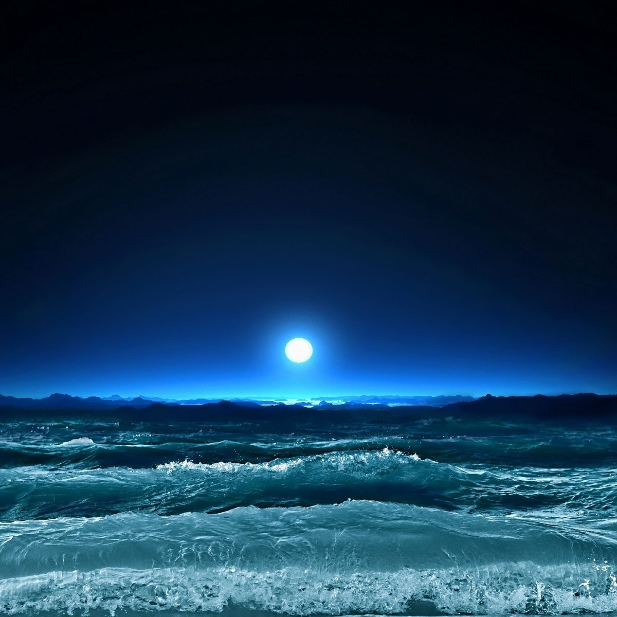 Moon light sea night waves art iPad Air wallpaper