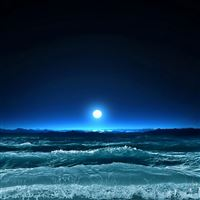 Moon light sea night waves art iPad wallpaper