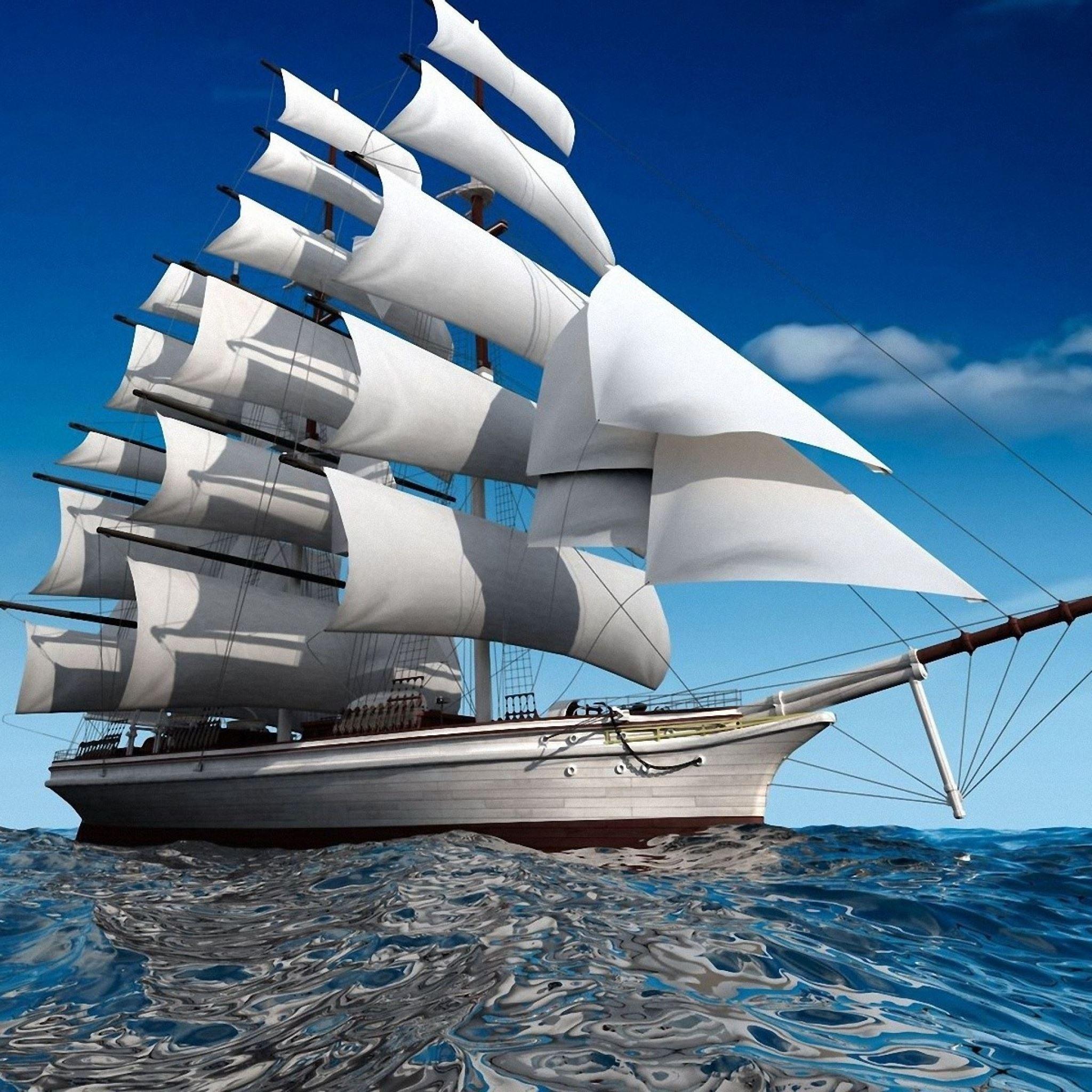 Ship sea swim sail iPad Air wallpaper