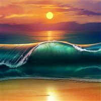 Art sunset beach sea waves iPad Air wallpaper