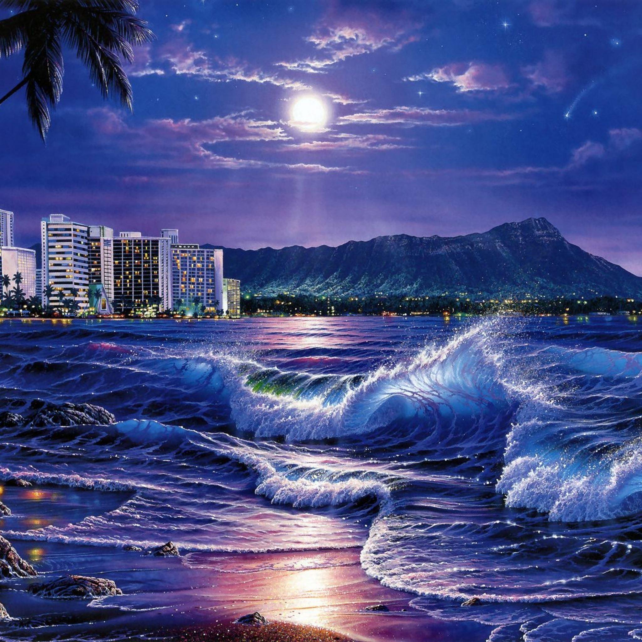 sea waves city night beach moon stars painting art iPad Air wallpaper
