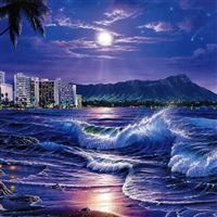 sea waves city night beach moon stars painting art iPad wallpaper