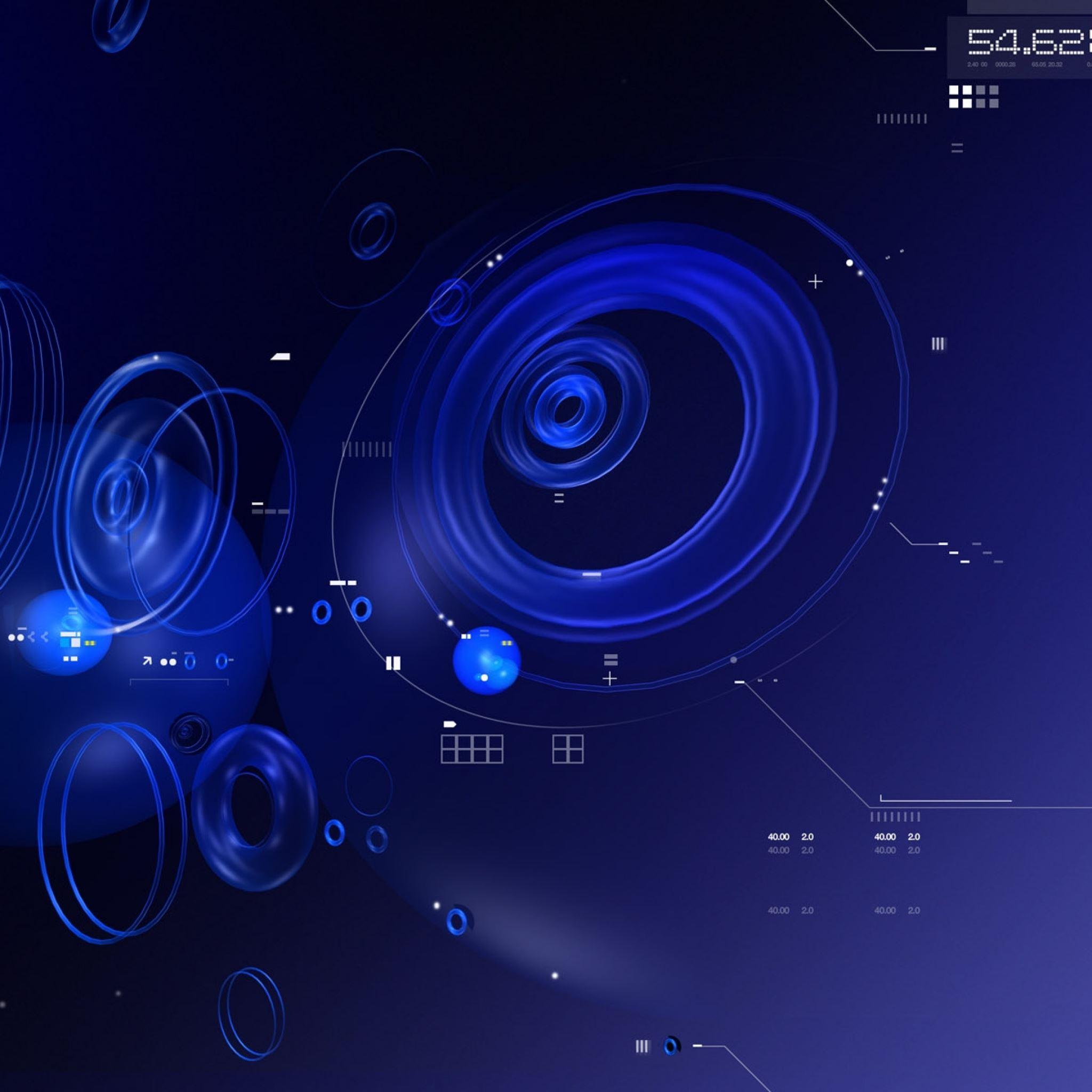 Circles shape blue form system iPad Air wallpaper