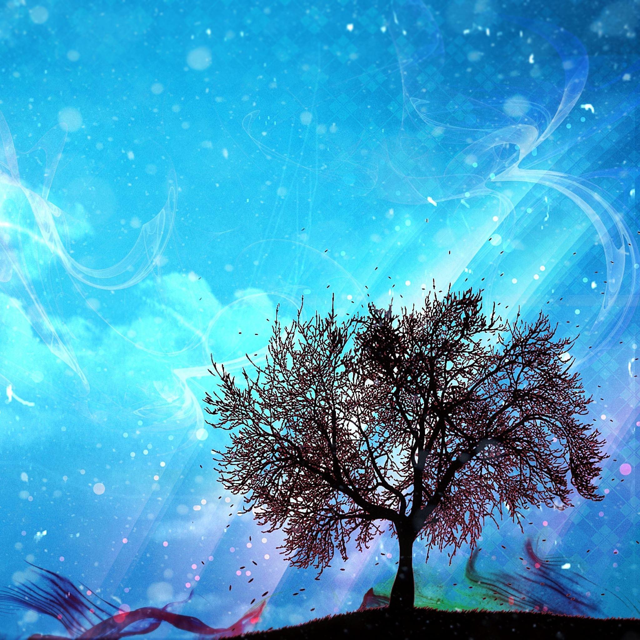 Tree art paint drawing iPad Air wallpaper