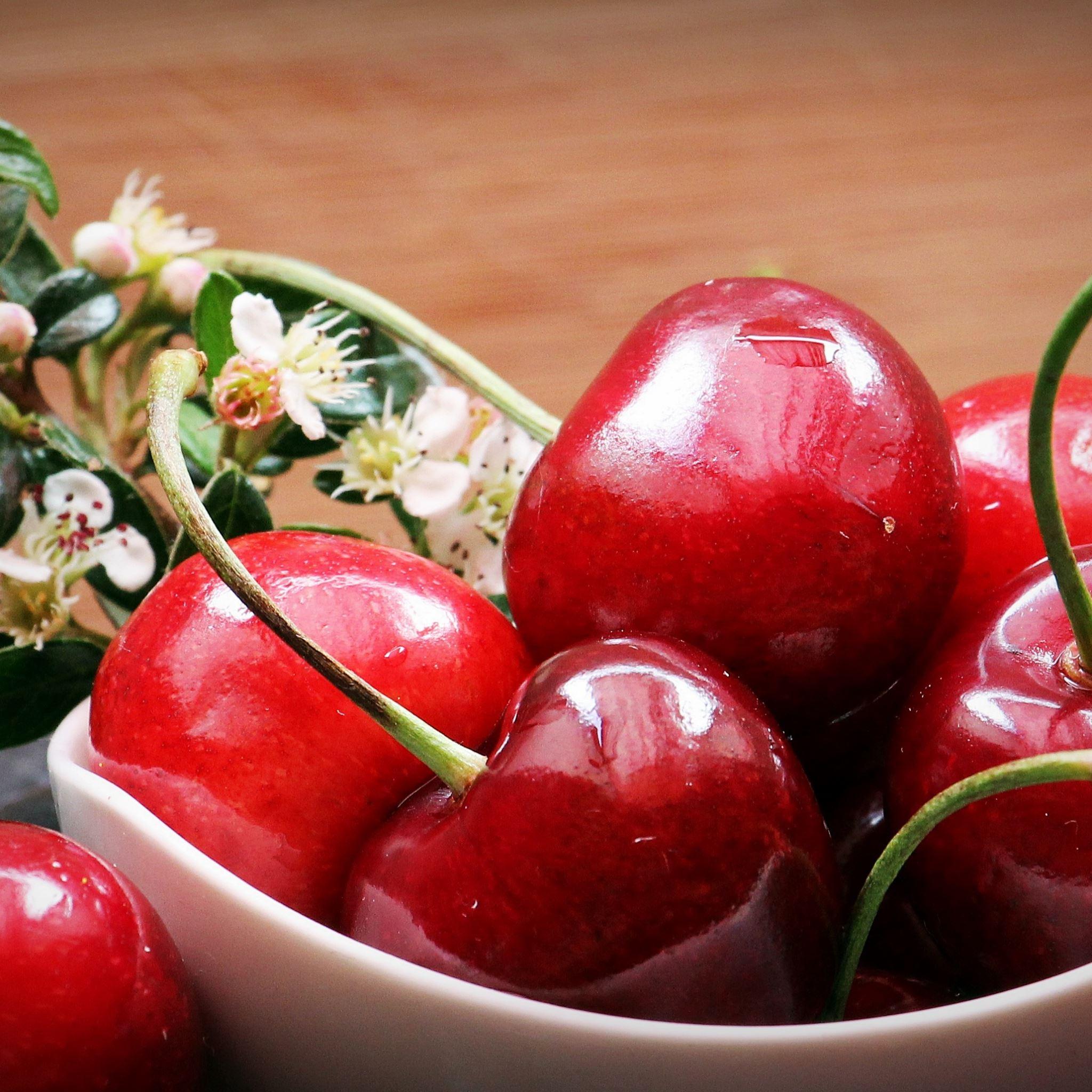 Cherries berries flowers iPad Air wallpaper