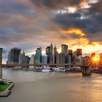 New York bridge light sunset iPad wallpaper