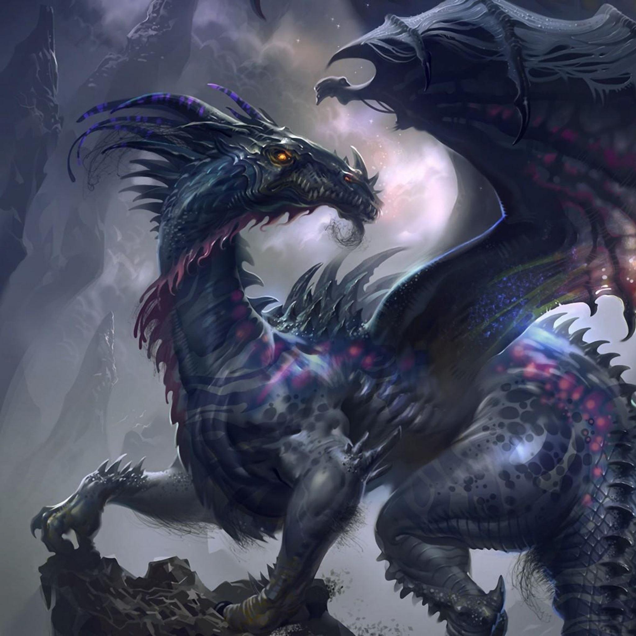 Dragon wings profile rock iPad Air wallpaper