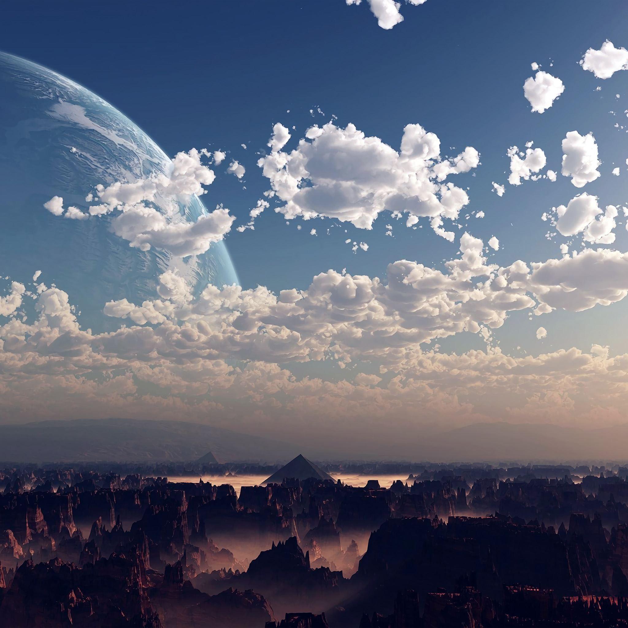 Sky space blue illustration art cloud iPad Air wallpaper