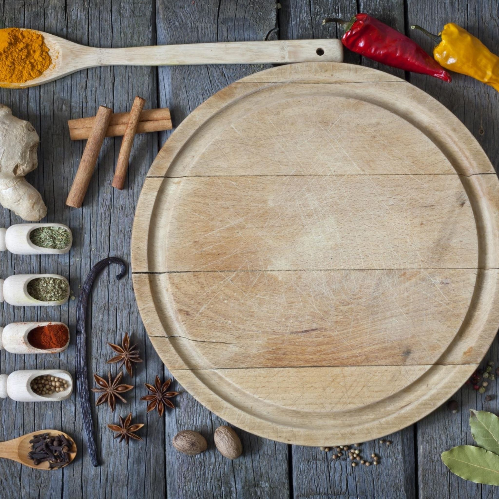 Spices pepper garlic cutting board iPad Air wallpaper