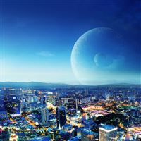 Cityscapes Planets iPad Air wallpaper