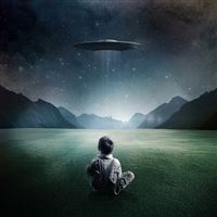 Boy and UFO iPad wallpaper