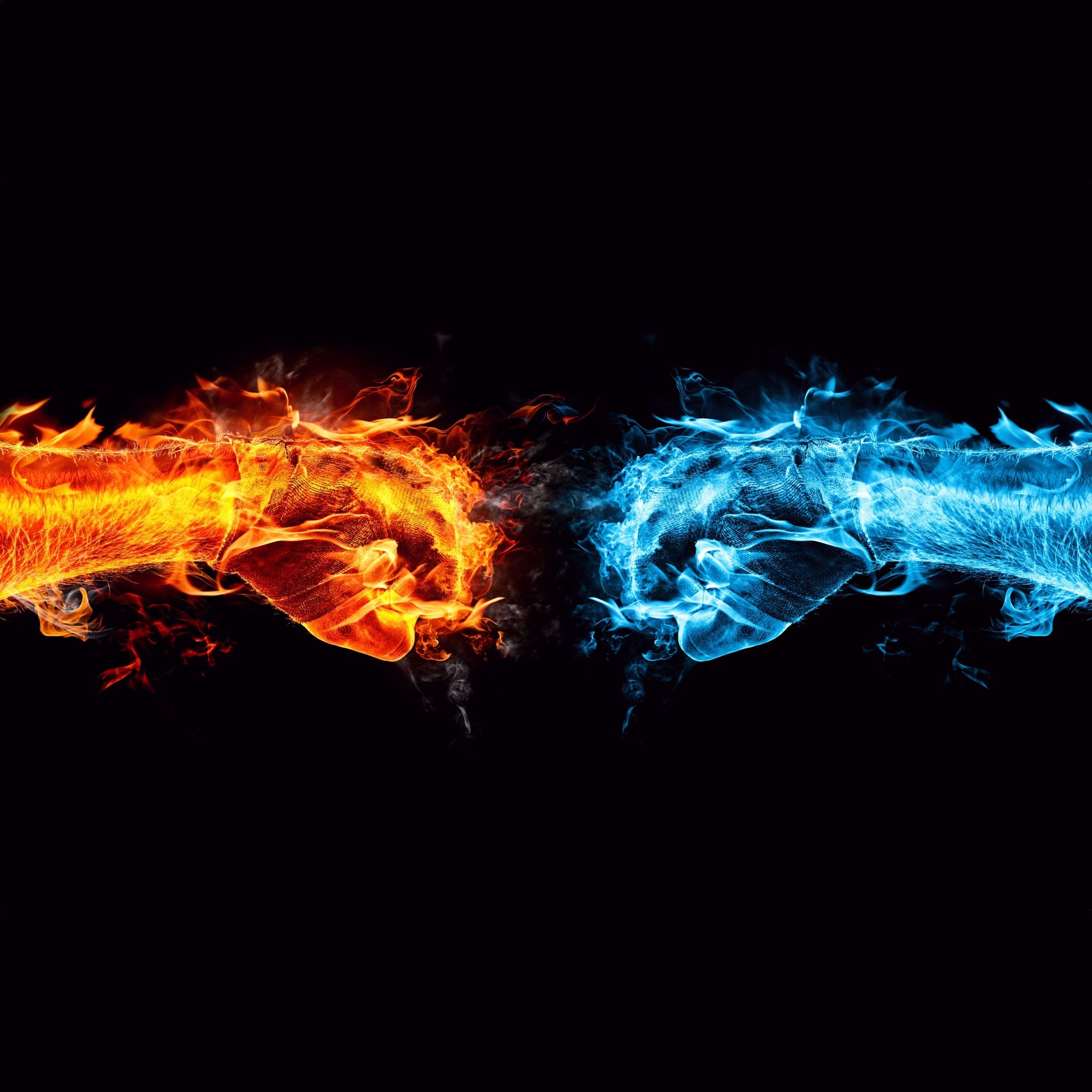 Fire Ice Fists Ipad Air Wallpaper Download Iphone