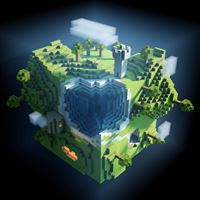 Minecraft Planet Cube Cubes World iPad wallpaper