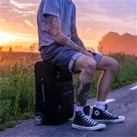 Man Suitcase Sunset Tattoos iPad Pro wallpaper