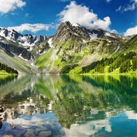 Lake Mountains Grass Sky Summer iPad wallpaper