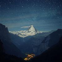 Switzerland Alps Mountains Night Beautiful Landscape iPad wallpaper