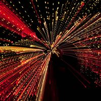 Into Tunnel Lights Art Pattern Dark Red iPad Pro wallpaper