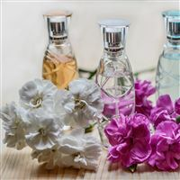 Perfume Flowers Bottles iPad wallpaper