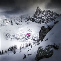 Skiing Skier Jump Mountains Snow iPad wallpaper