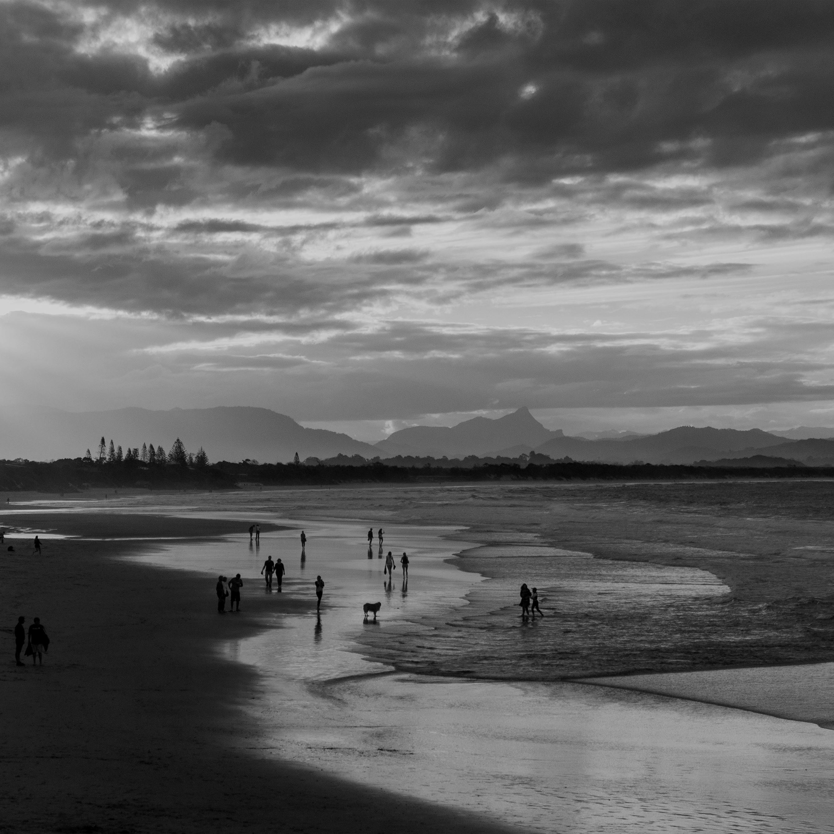 Sea Sunset Beach Dawn Summer Dark Bw iPad Pro wallpaper