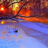 Winter sunset evening iPad wallpaper