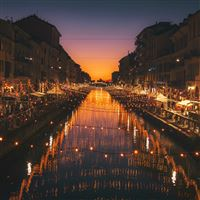 Milan italy river evening city iPad Pro wallpaper