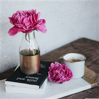 pink peony flower books coffee iPad Pro wallpaper