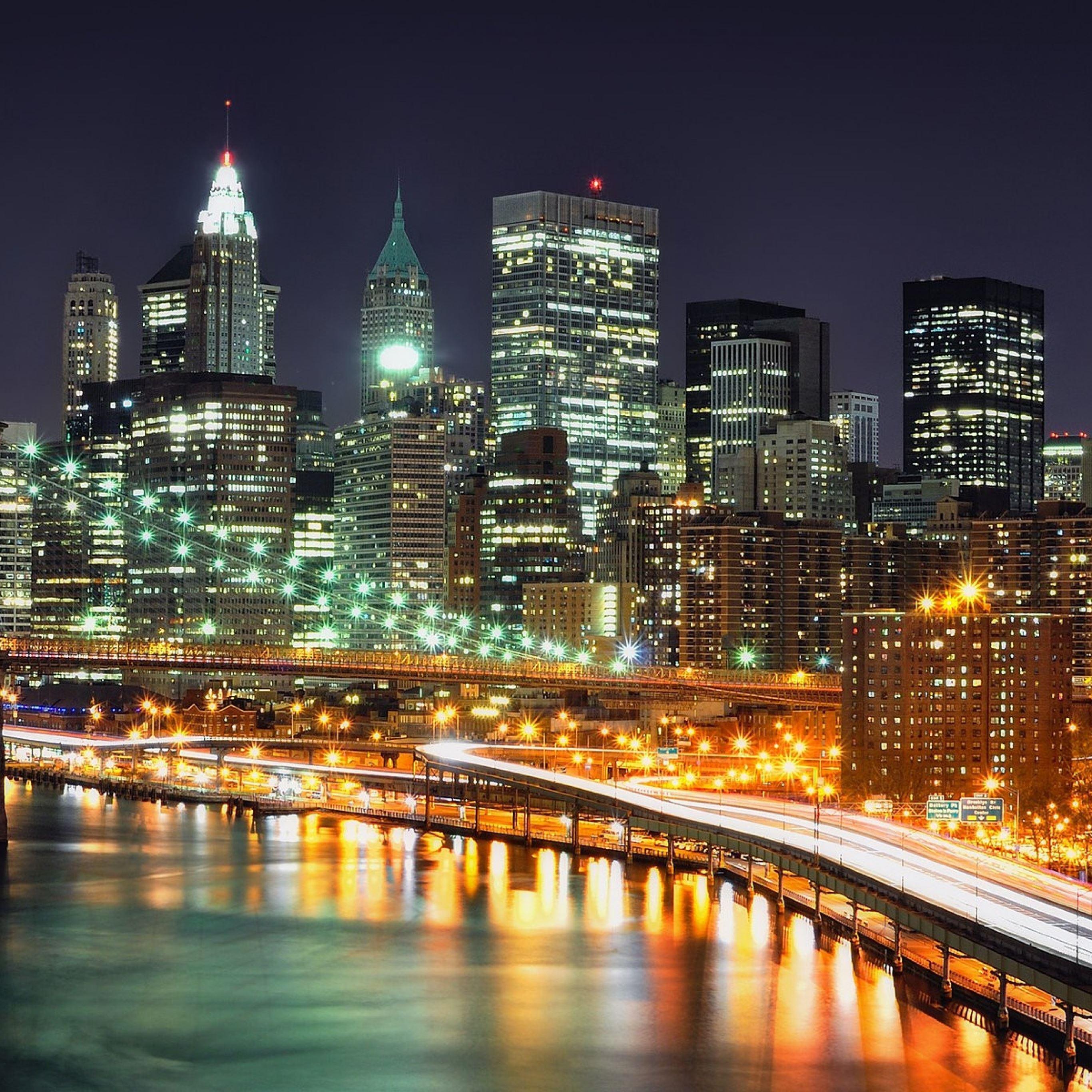 Bridge night lights iPad Pro wallpaper