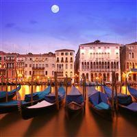 City on the water night moon building iPad Pro wallpaper