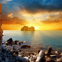 Decline sun evening stones rocks beams iPad wallpaper