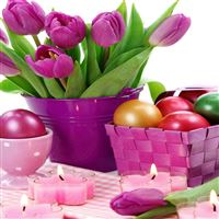 Easter holiday eggs tulips candles basket iPad Pro wallpaper
