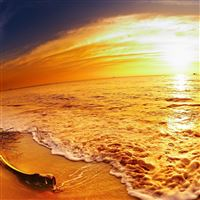 Brilliant sunset Sand beach panorama iPad wallpaper