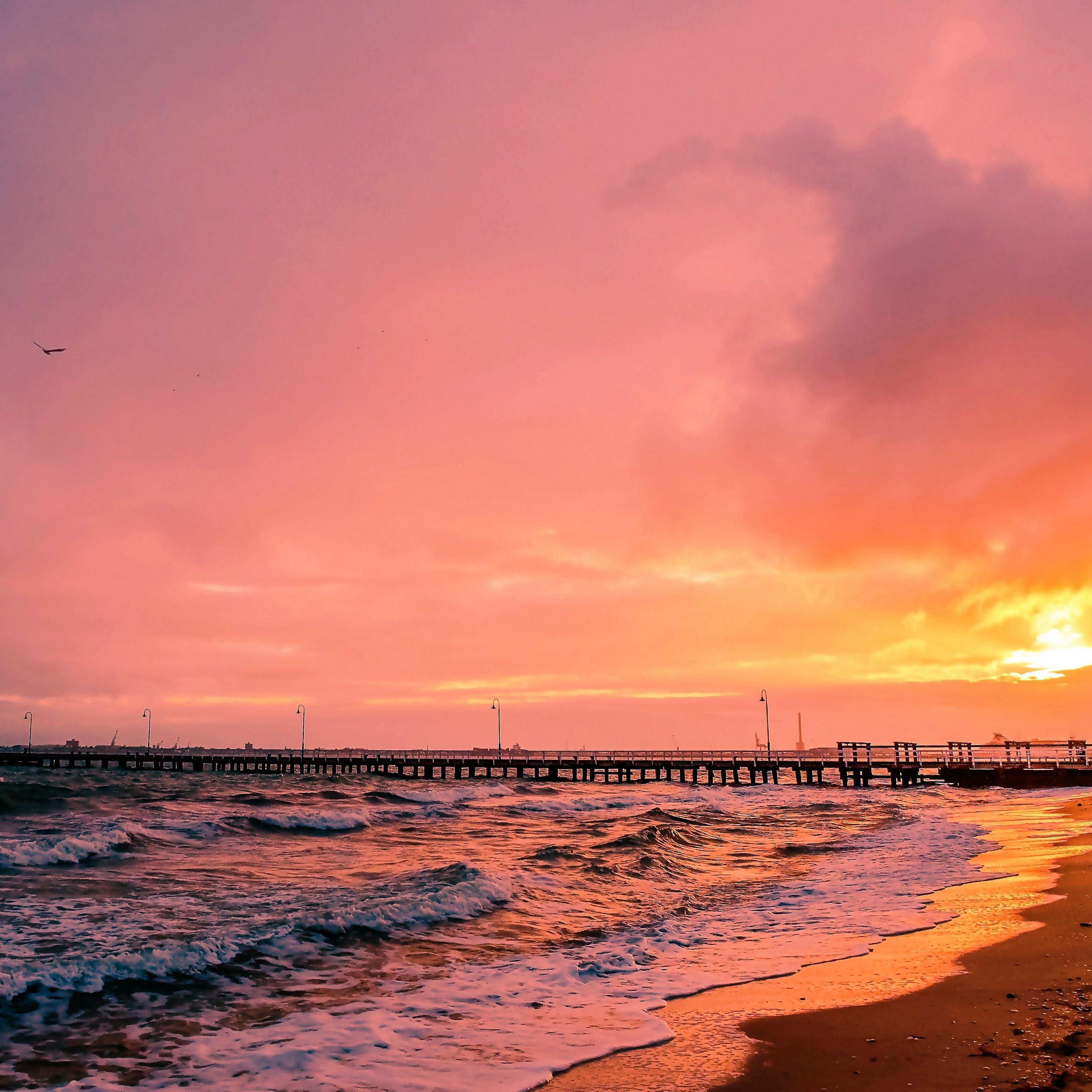 Sunset sea sun landscape iPad Pro wallpaper