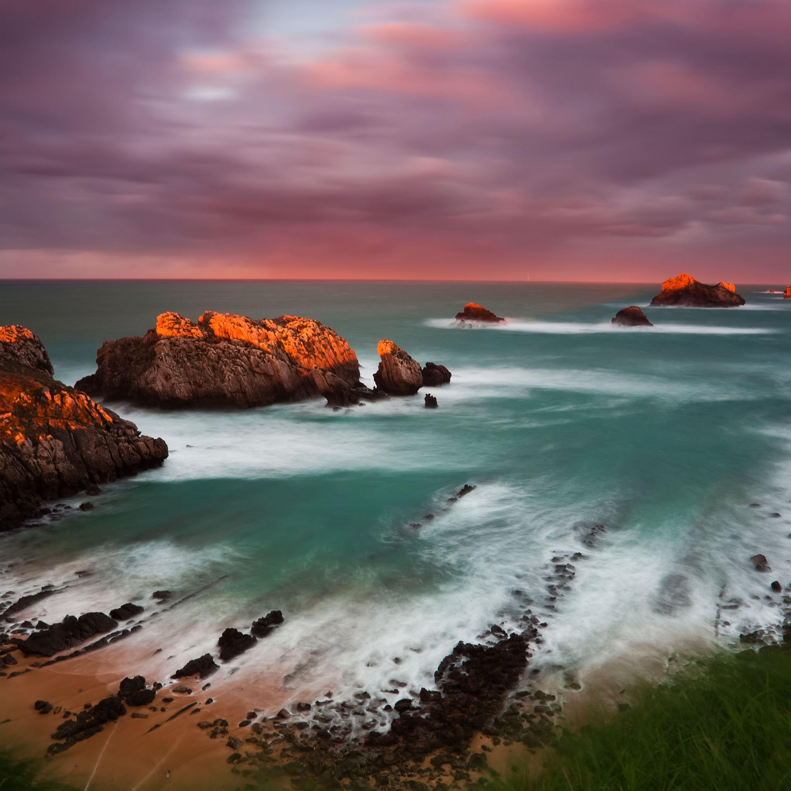 Spain coast decline rocks island iPad Pro wallpaper