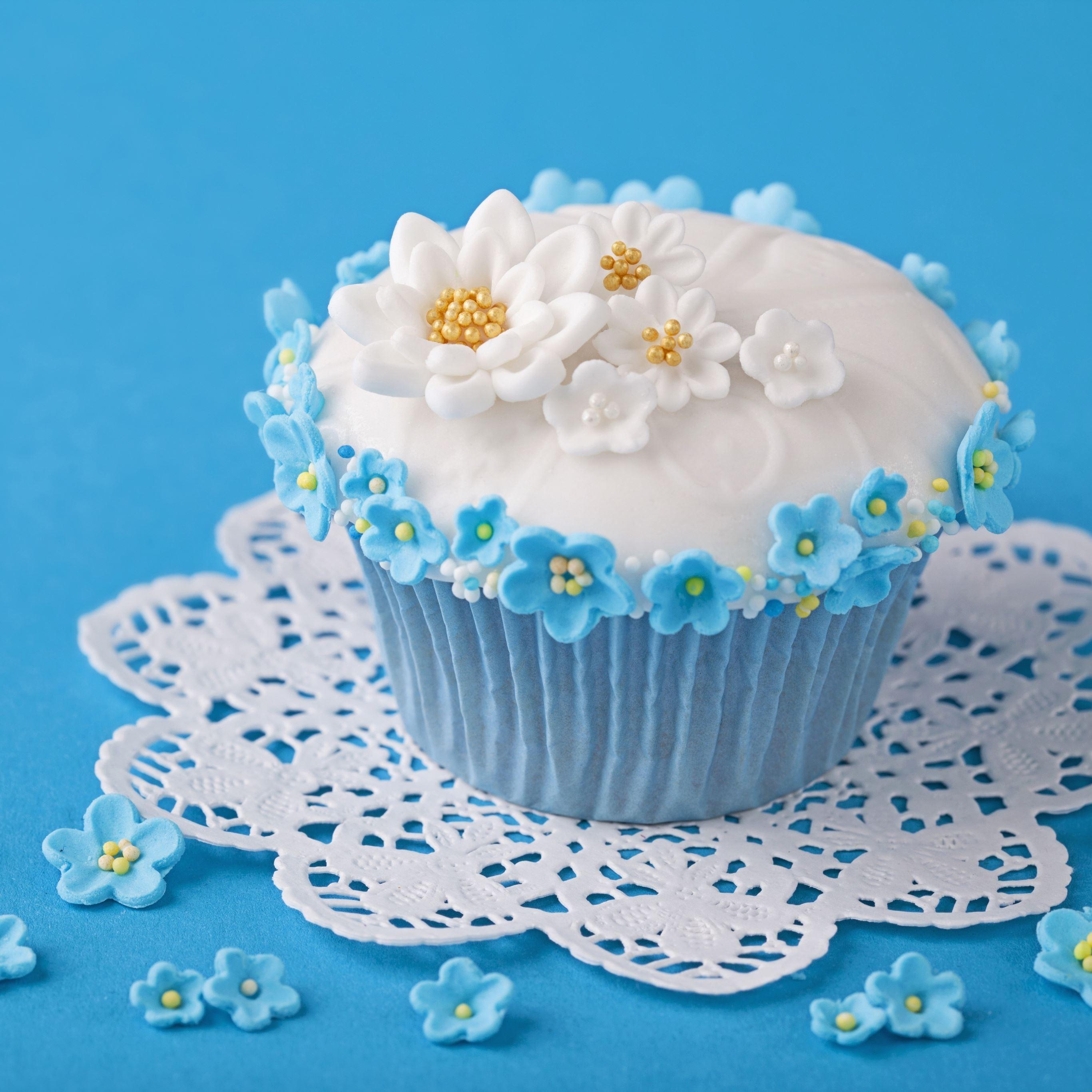 Cupcake decoration flowers cream iPad Pro wallpaper