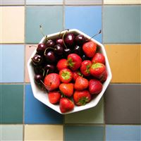 Cherries strawberries berries plate iPad wallpaper
