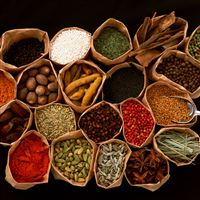 Spices seasonings additives bags black background iPad wallpaper