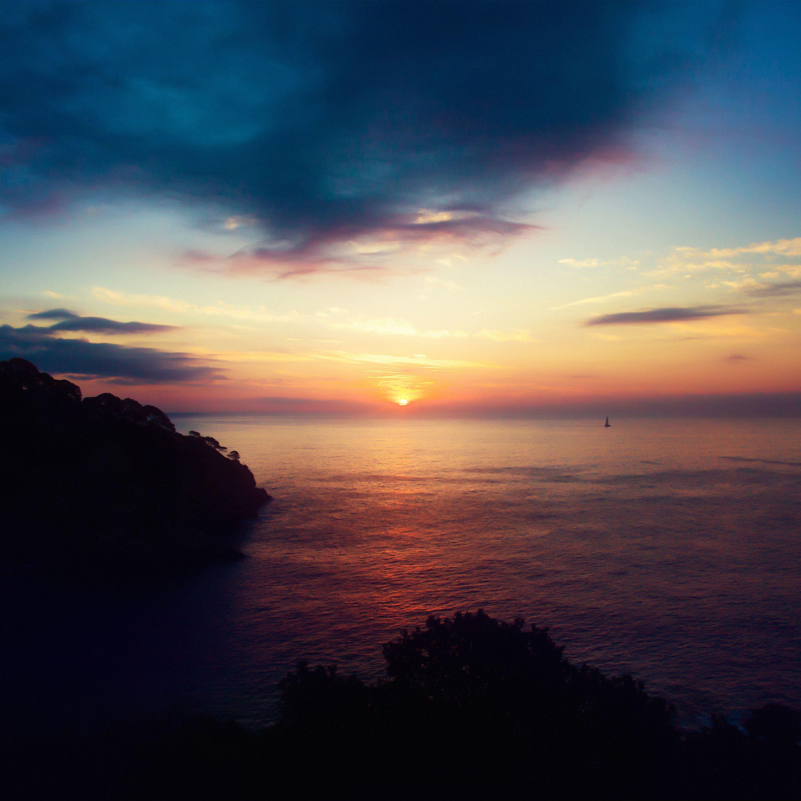 Sky sunset sea nature night iPad Pro wallpaper
