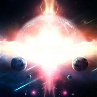 Planet space wave stars asteroids iPad wallpaper