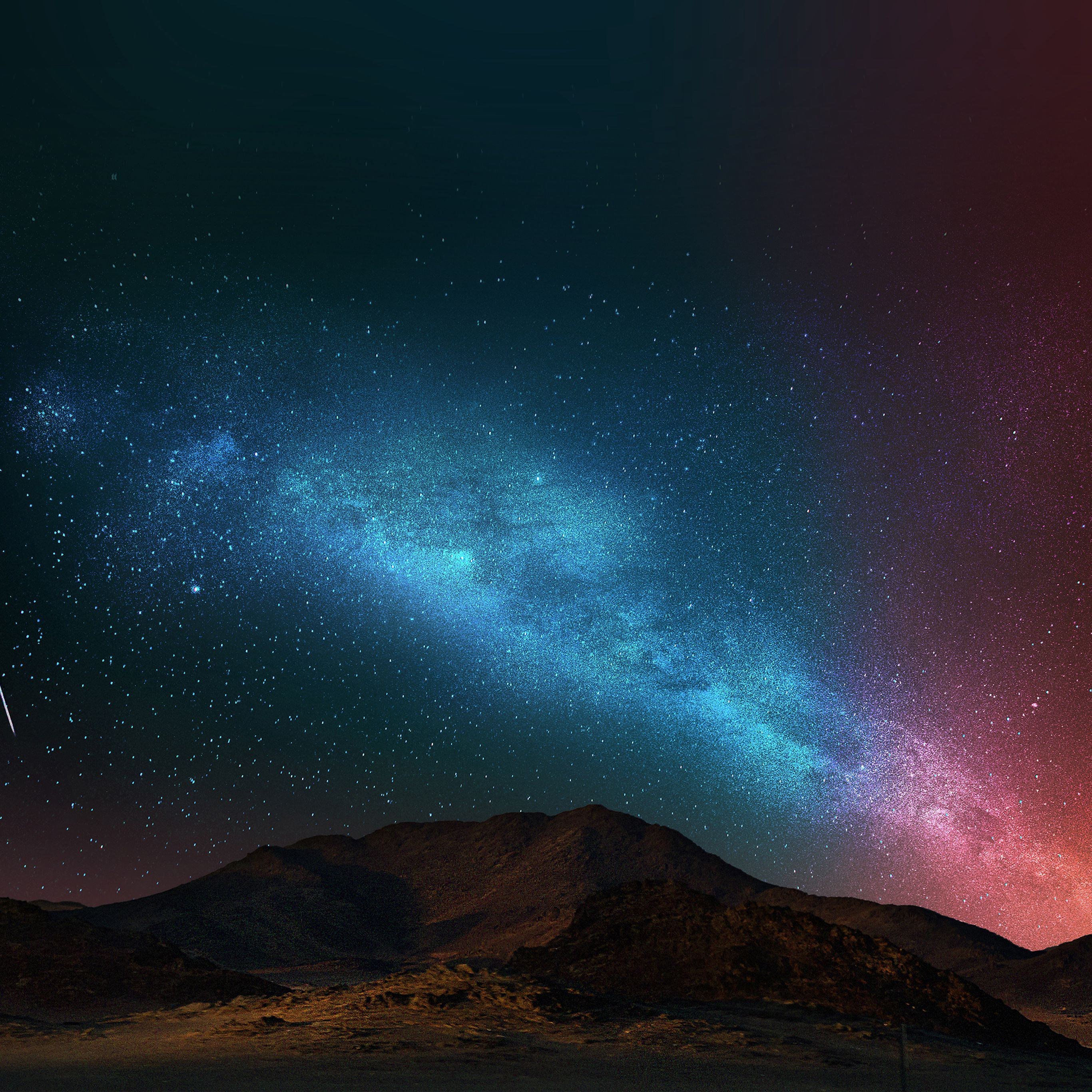 Night sky dark color star shining iPad Pro wallpaper