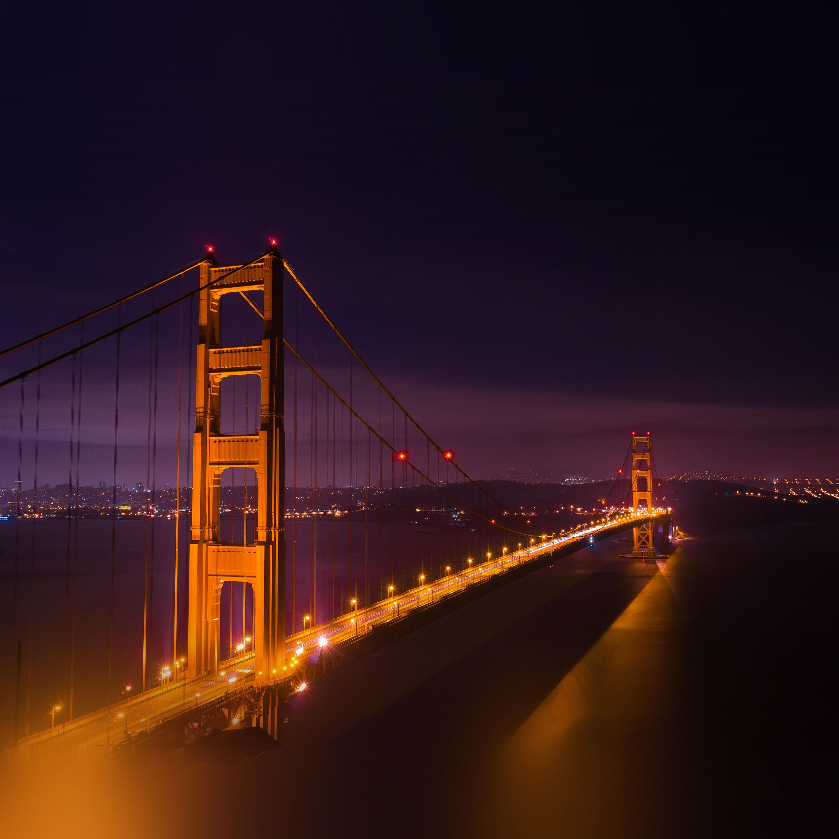 River golden bridge city night iPad Pro wallpaper
