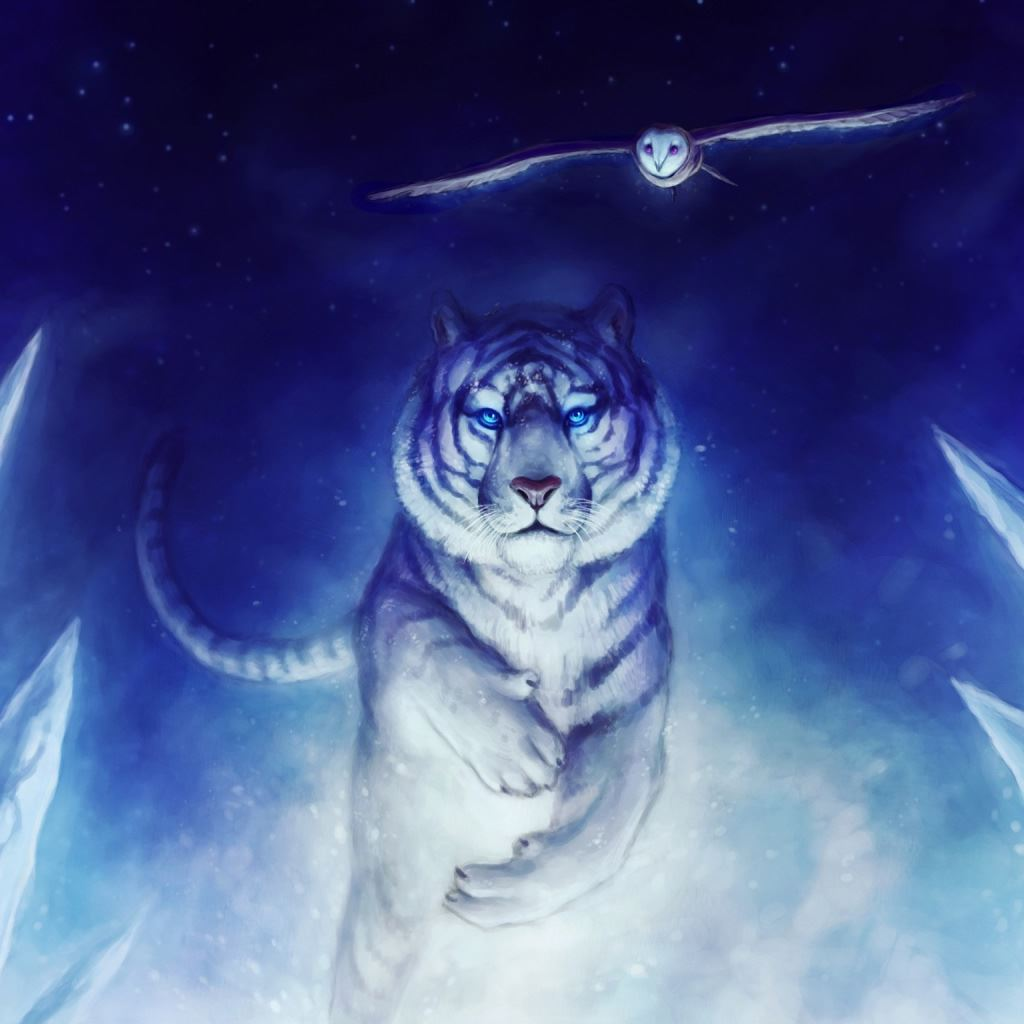 White Tiger Owl Art iPad wallpaper