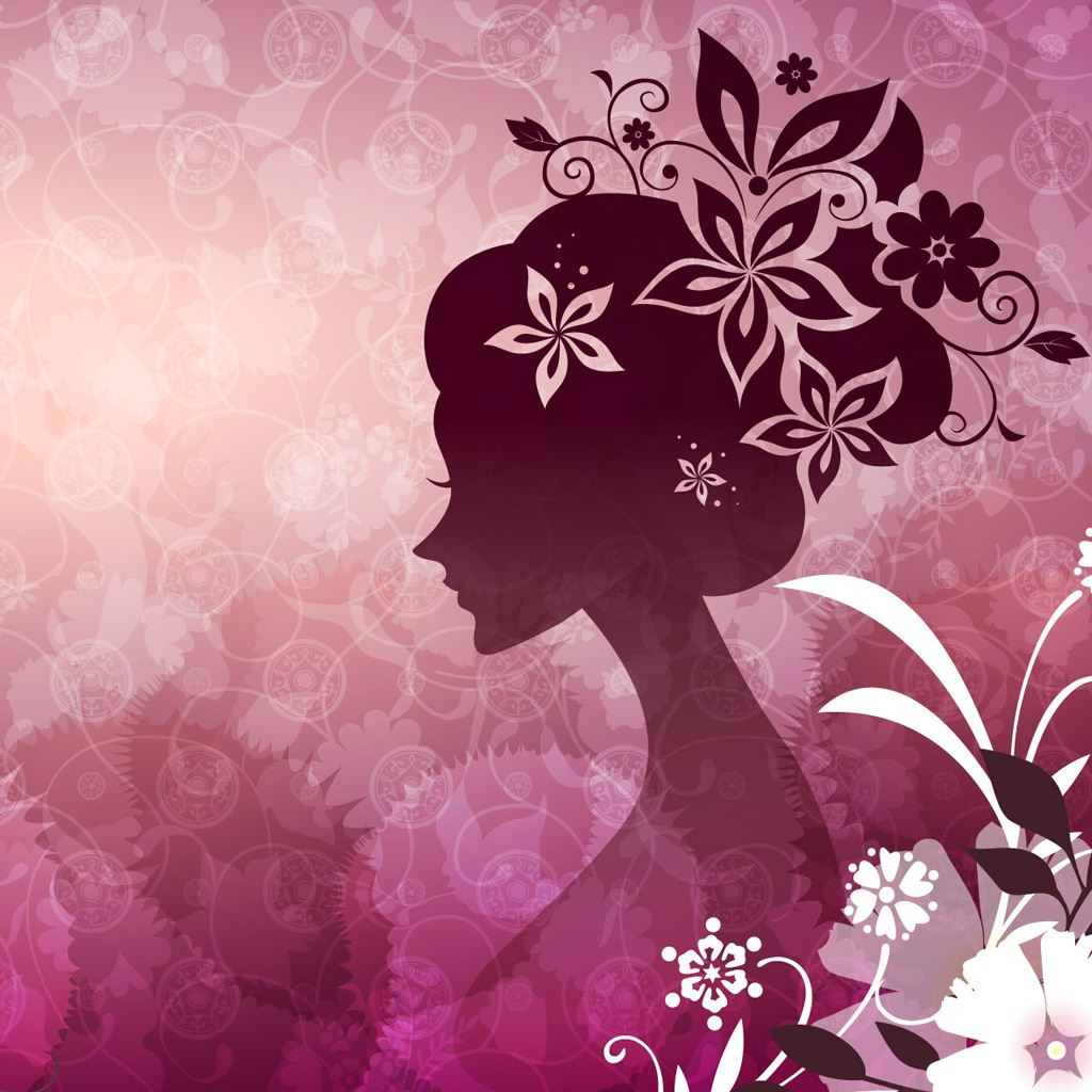 Woman With Flowers Pink IPad Wallpaper