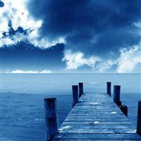 Blue Dock iPad wallpaper