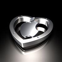 Metallic Apple Heart iPad wallpaper